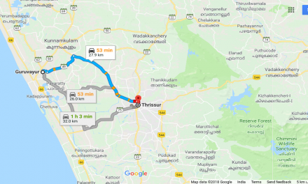 Guruvayur To Thrissur Distance