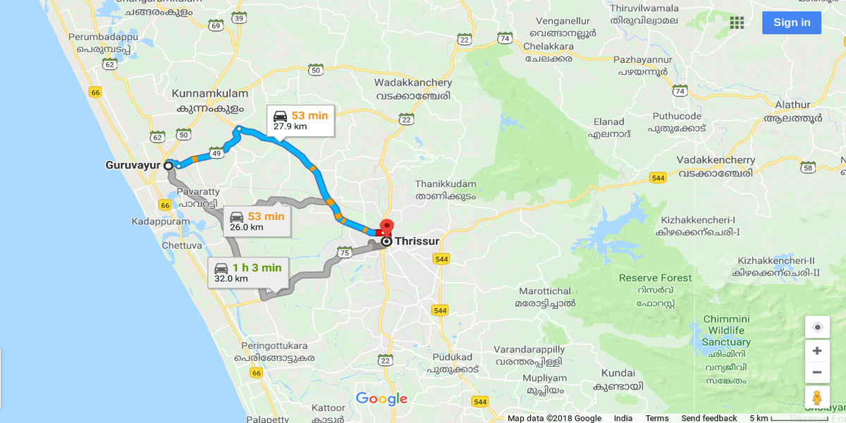 Guruvayoor To Thrissur Distance