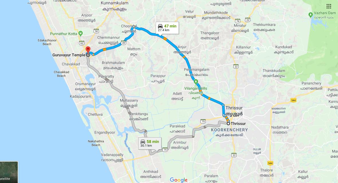 Thrissur Railway Station To Guruvayoor Temple
